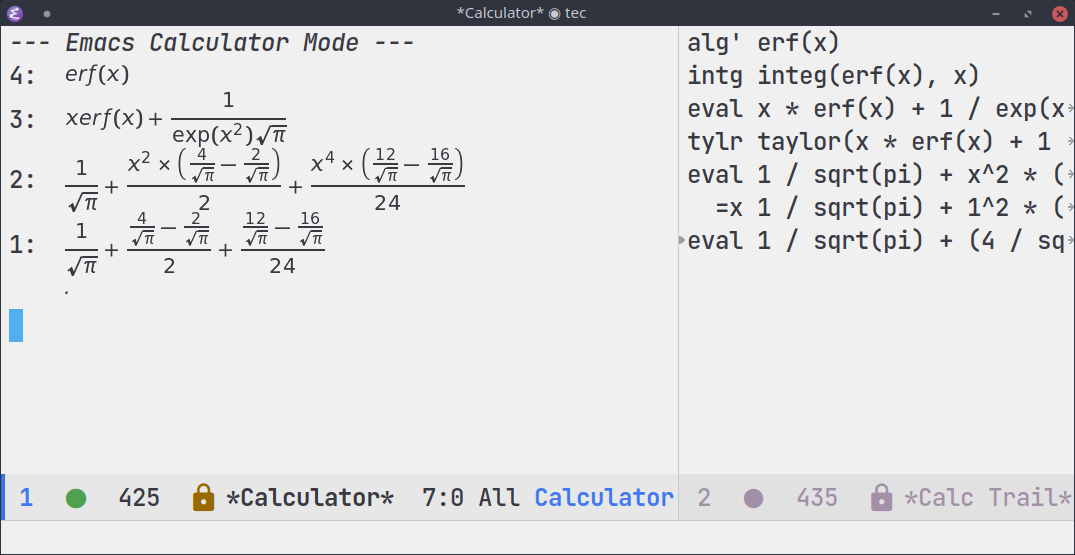 Demonstration of calc, prettified by calctex.